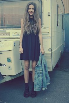 Second Hand Denim Jacket, Monki Dress, Sheinside.Com Creepers | tallest man on earth (by fredrikah ▲) | LOOKBOOK.nu