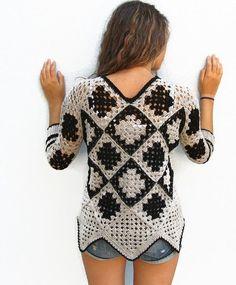 Crochet sweater. Granny square sweater. Crochet pullover. Womens winter sweater. Retro Women Sweater. Gray Black Sweater. One of a kind.:
