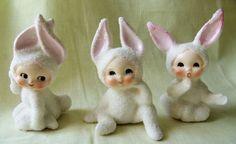 3 Vintage Sugar Texture Easter Bunny Rabbit Figures Handpainted Faces | eBay