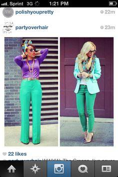 Teal pants w/purple? I think I like it.