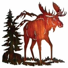 "MORDG26WCW - 26"" Moose Ridge Metal Wall Art by Neil Rose Color Wash Finish"