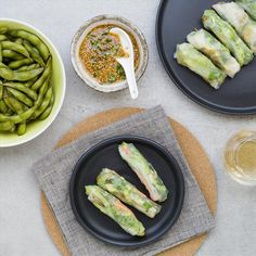 Chicken and Vegetable Rice Paper Rolls with Sesame Dipping Sauce