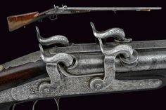 A very rare four-shot superimposed percussion double-barrelled sporting gun by Kirner.    provenance:	 	Boemia dating mid 19th century.