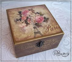 my decoupage Rusty Metal, Old Fashioned Christmas, Decorative Boxes, Furniture, Home Decor, Diy And Crafts, Decorated Boxes, Smile, Home