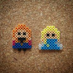Anna and Elsa - Frozen perler beads by Halemark Handcrafts