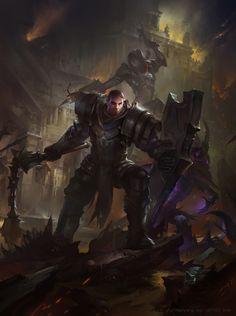 DIABLO III-Crusader-Warrior's road, david zhou on ArtStation at https://www.artstation.com/artwork/2ZZmA