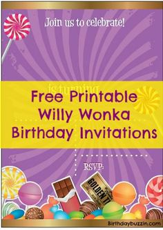 Free Printable Willy Wonka Birthday Party Invitations