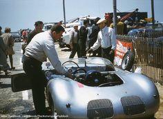 1961 Bridgehampton, SCCA, paddock, Bob Bucher with the Porsche 718 RSK . # Inside The Motorsport Paddock # Vintage Racing, Vintage Cars, Road Racing, Auto Racing, Vintage Porsche, Great Pic, National Championship, Courses, Le Mans