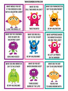 Looking to scare up some lunch time fun with your little Valentine? These free printable monster lunchbox jokes are sure to be a big hit! My Funny Valentine, Valentines Day Jokes, Valentines Day Activities, Valentines For Kids, Valentine Day Cards, Printable Valentine, Valentine Ideas, Valentine Decorations, Kid Activities