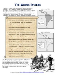 Wonderful, simple worksheet to help students understand the purpose and effects of the Monroe Doctrine. Uses CCSS aligned questions to help students focus on this famous early American foreign policy.