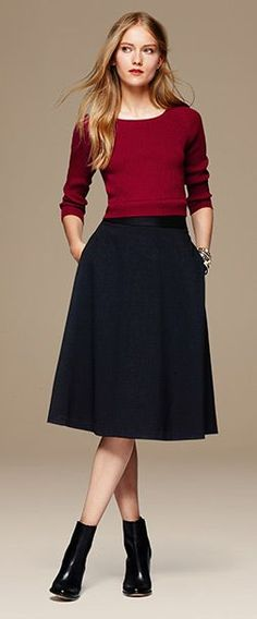 Banana Republic Fall 2014 Ribbed Zip-Back Pullover, Ponte Midi Skirt, Meelia Chelsea Boot (would look nice with Adelia Pumps, too) Vestido Crop Top, Crop Top Dress, Dress Skirt, Modest Outfits, Classy Outfits, Skirt Outfits, Fall Outfits, Sweater Skirt Outfit, Fashion Moda