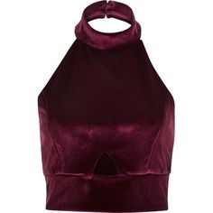 River Island Dark red velvet halter neck crop top ($50) ❤ liked on Polyvore featuring tops, red, women, red halter top, purple top, cutout crop top, cut out crop top and red top - shirts, blue, softball, denim, girl, grey shirt *ad