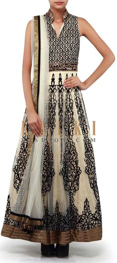 Buy Online from the link below. We ship worldwide (Free Shipping over US$100). Product SKU - 300381. Product Link - http://www.kalkifashion.com/cream-anarkali-suit-adorn-in-applique-embroidery-only-on-kalki.html