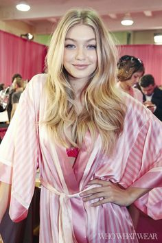 Gigi Hadid wears her pink striped Victoria's Secret robe backstage at the 2015 Victoria's Secret Fashion Show
