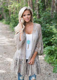 Taupe Lace Ruffle Cardigan, Boutique, Online Boutique, Women's Boutique, Modern Vintage Boutique, Kimono, Mocha Kimono, Laced Kimono, Bell Sleeve Kimono, Cute, Fashion