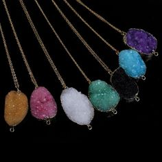 New Gemstone Pendant Necklace Natural Quartz Crystal Point Chakra Healing Stone…