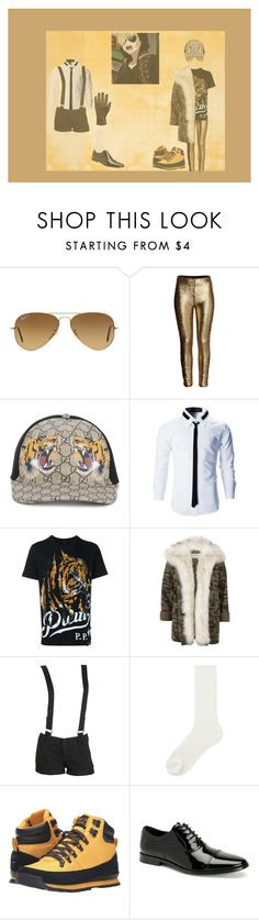 """Yuri On Ice!!! ; Yuri Plisetsky"" by jack-rabbit on Polyvore featuring Ray-Ban, Gucci, Philipp Plein, River Island, Wet Seal, Uniqlo, The North Face, Calvin Klein, Hilts Willard and Episode"