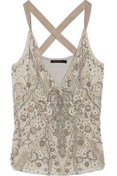 Embellished silk-organza and jersey top #top #offduty #women #covetme #donnakarannewyork