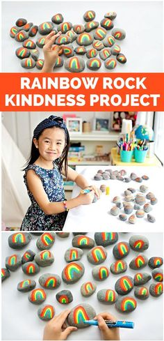 Spread Kindness Through The Rainbow Rock Project. Paint rainbow rocks and leave them as a fun surprise for people to find to spread cheer. Great way to inspire kindness in kids!  #rainbowrockproject