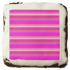 Pink striped pattern square brownie