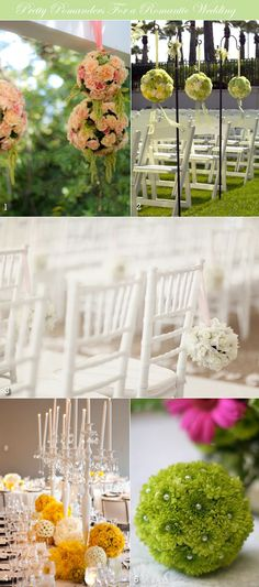 Floral pomanders used as wedding ceremony decorations