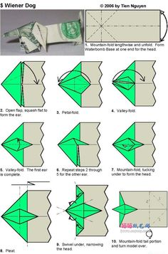 Weiner dog Origami part 1 Origami Turtle, Origami Fish, Origami Folding, Paper Folding, Folding Money, Easy Origami, Origami Ideas, Origami Mouse, Origami Yoda
