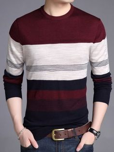 Mens Cotton Sweaters, Mens Fashion Sweaters, Mens Striped Sweater, Striped Sweaters, Polo T Shirt Design, Sweater Jacket, Men Sweater, Stripes Design, Long Sleeve Shirts