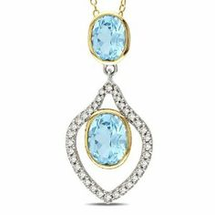 Sterling Silver 4 CT TGW Sky Blue Topaz 1/3 CT TDW Diamond Fashion Pendant (G-H, I3) Amour. $130.99