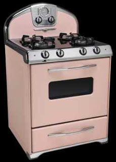 Black and pink kitchen stove (very Mid-Century look), from Elmira Stove Works, via C. Dianne Zweig.