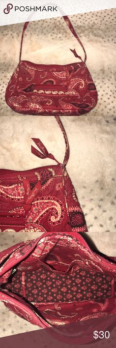 Vera Bradley medium size purse (w/h/d) 11inx7inx3in perfect condition beautiful warm red hues and complimenting accent colors Vera Bradley Bags Shoulder Bags