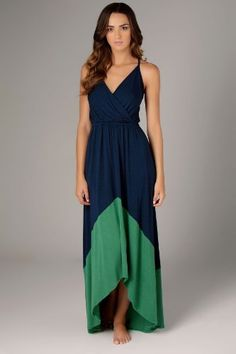 Amazon.com: Michael Stars Color Blocked Deep Vee Maxi Dress. $168.00. Ugh.