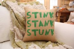 Burlap Pillow 'Stink Stank Stunk' Grinch Christmas Pillow by tootyb, $25.00