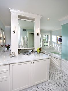 Walk In Shower Back To Back Vanities Bathroom