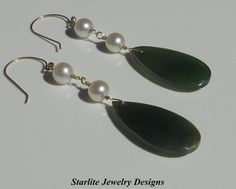Natural Jade Drop Earrings  Accented with Natural Akoya Saltwater Pearls Handcrafted in Solid 14K Gold ~ by www.StarliteJewelryDesigns.com, $85.00