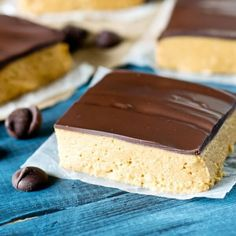 Peanut Butter Squares are the classic school lunchroom treat from childhood. This no-bake dessert has a thick layer of peanut butter topped with chocolate. Candy Recipes, Sweet Recipes, Baking Recipes, Cookie Recipes, Snack Recipes, Dessert Recipes, Snacks, Jam Recipes, Dessert Ideas
