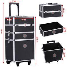 Songmics® Trolley Make up Kosmetikkoffer XXL Größe Hartschale für Gepäck 4 in 1 Schwarz JHZ01B: Amazon.de: Koffer, Rucksäcke & Taschen