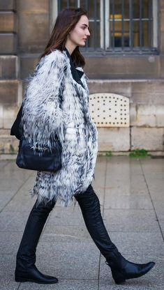 a fur coat and leather boots always look expensive and luxe