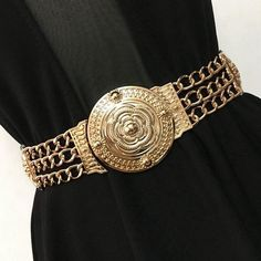 Fashion gold carved flower metal chain waist belt for women party dress decoration elastic belts wide girdle high quality female