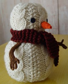 Oatmeal the Snowman knitting pattern PDF by Yarnigans on Etsy