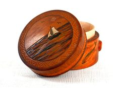 Decorated Treen Ware Round Wooden Box with Amber Nuggets