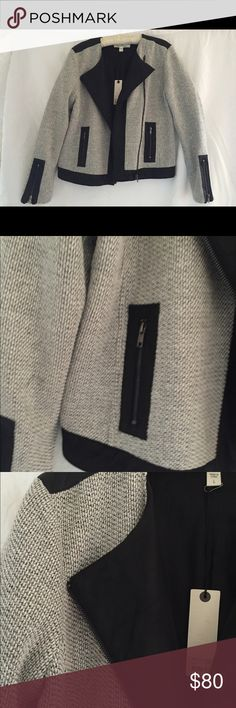 Women's two toned blazer with leather accents Dakota Collective, never been worn women's blazer. Great for a night out or at the office. Cool leather accents on the shoulders and collar. Jackets & Coats Blazers