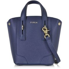 Furla Handbags Perla Navy Leather Mini Crossbody Tote ($245) ❤ liked on Polyvore featuring bags, handbags, tote bags, navy blue, mini crossbody purse, navy blue leather tote, leather cross body purse, genuine leather tote and zip top tote