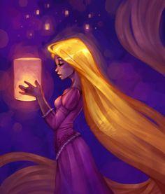 This is another painted portrait of Rapunzel that is amazingly expressive. It's hard not to feel Rapunzel's hope Disney Pixar, Arte Disney, Disney Tangled, Disney Fan Art, Disney And Dreamworks, Disney Animation, Disney Magic, Disney Movies, Tangled Rapunzel