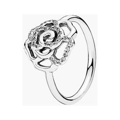 PANDORA Pave Rose Ring (250 BRL) ❤ liked on Polyvore featuring jewelry, rings, pandora jewelry, sparkle jewelry, rose jewelry, pave jewelry and pandora jewellery