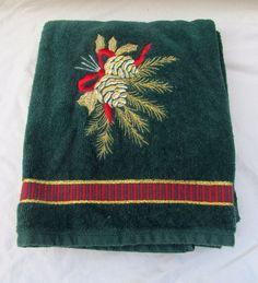 Holiday Christmas Cabin Lodge Green Bath Bathroom Towel Pine Cone EMBROIDERED #Santens