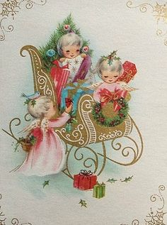 Christmas angels packing the sleigh on Christmas Eve! Vintage Christmas Images, Old Christmas, Old Fashioned Christmas, Christmas Scenes, Retro Christmas, Vintage Holiday, Christmas Pictures, Christmas Angels, Purple Christmas