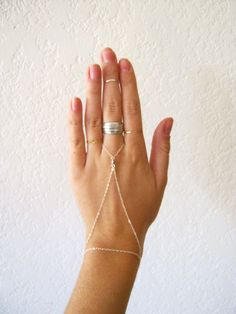 Slave Bracelet / Hand Harness Delicate 14K Gold by WOODNWHITE.