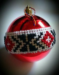 Christmas baubles handmade romanian traditional stitching