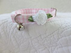 Shabby Chic Cat Collar Bell  Cat  Breakaway by graciespawprints