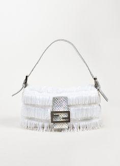 White and Silver Fendi Beaded Fringe Metallic Python Baguette Shoulder Bag Fendi Peekaboo Bag, Fendi Bags, Beaded Bags, Garage Ideas, Designer Bags, Luxury Bags, Justice League, Baggage, Baguette
